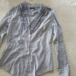 Blue striped j. Crew button up blouse ruffle bib